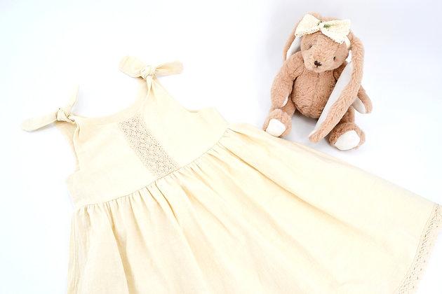 Lace bodice & hem, flutter sleeve dress - Beige