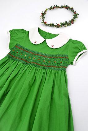 Smocked - Green Peter Pan Collar Dress