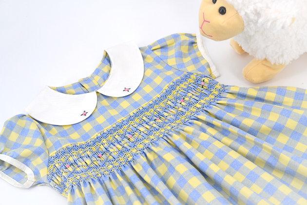 Smocked - Light Blue and Yellow Plaid Dress