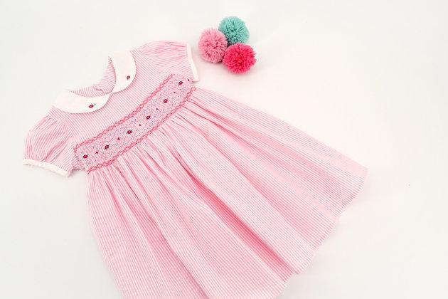 Smocked - Pink Stripe Dress