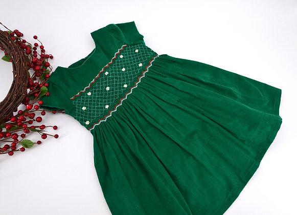 Smocked - Corduroy Emerald Green Dress