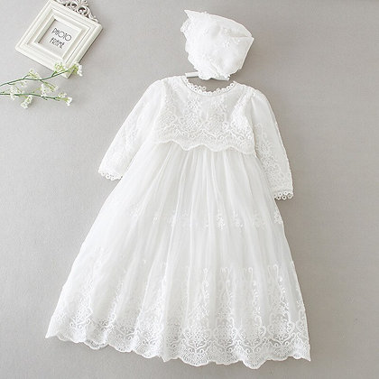 Ivory Long Sleeve Gown for Christening Birthday Party Dress