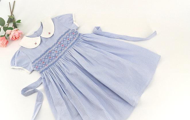 Smocked - Light Blue Peter Pan Collar Lantern Sleeve Dress