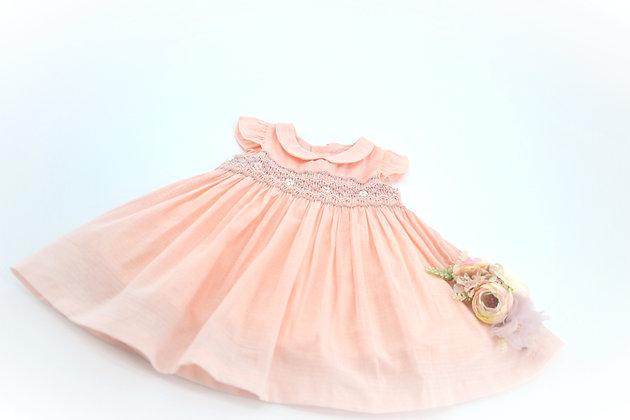 Smocked - Peach Collard Grey Smocked Baby Dress