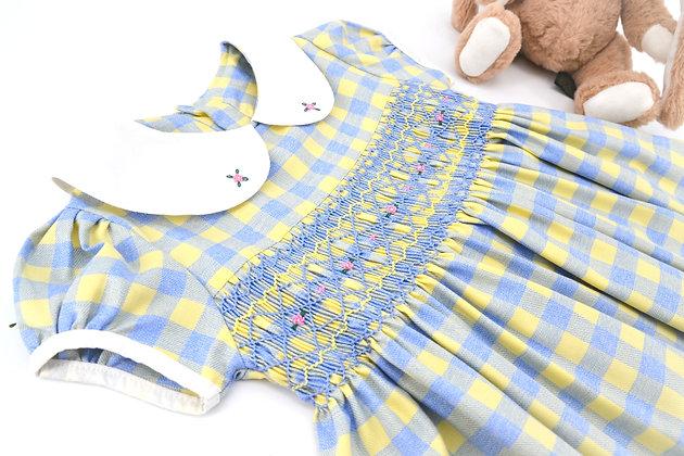 Smocked - Diamond Yellow And Blue Plaid Dress