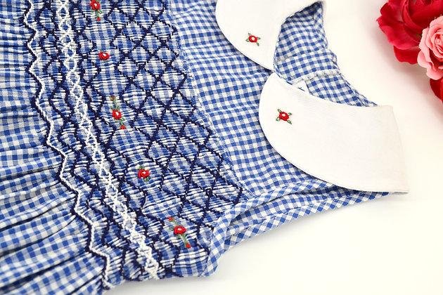 Smocked - Sleeveless Blue and White Gingham Dress