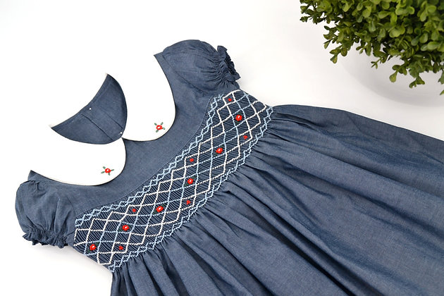 Smocked - Crosshatch Indigo Lantern Sleeve Dress