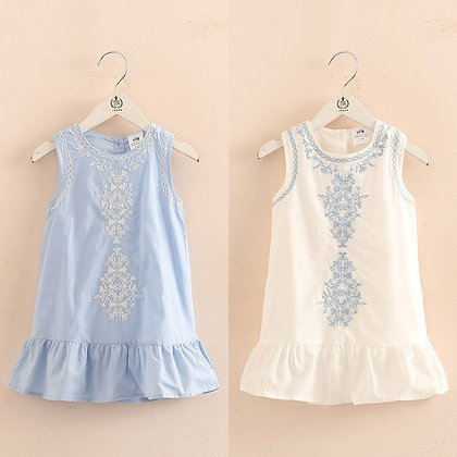 Brief Kids Lace Embroidery Flower Floral Sleeveless Flounce Dress
