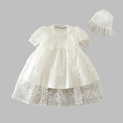 Snow White/Ivory Christening Dress Gown