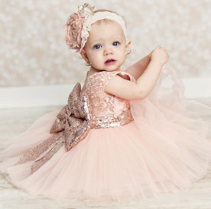 Kids Special Occasion Dress Lace Sequin Bow Back