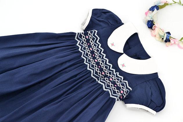 Smocked - Navy Blue Dress