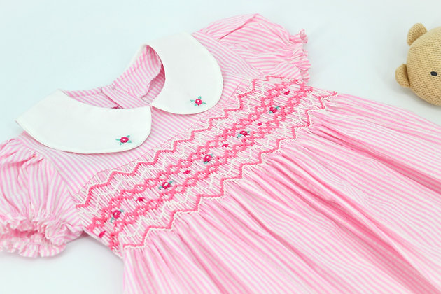 Smocked - Pink Stripe Dress gathered Sleeve