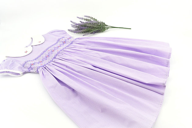Smocked - Light purple gingham dress