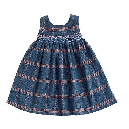Plaid Printed  Smocking O-Neck Belt Button  Sleeveless Woolen Cloth Vest Dresses