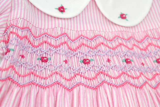 Smocked - Pink and White Stripe Gathered Sleeve Dress