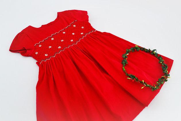 Smocked - Corduroy Crimson Red Dress