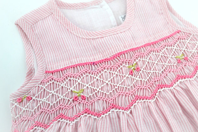 Smocked - Emma Pink Pinstripe Dress