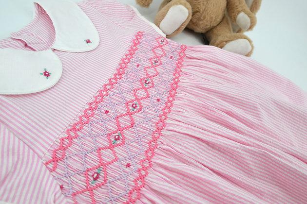 Smocked - Pink and white stripe dress