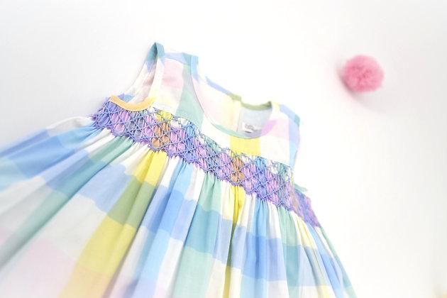 Smocked - Gingham Print Dress