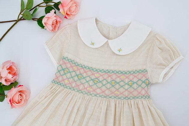 Smocked - Ivory Peter Pan collar Dress