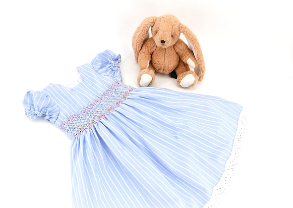 Smocked - Light Blue Dress with white stripes