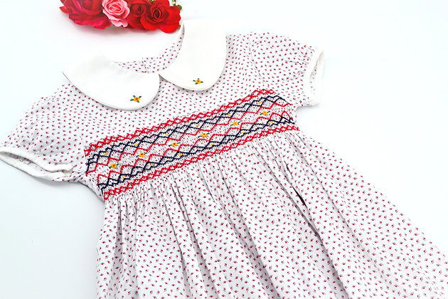 Smocked - White and Red Print Dress
