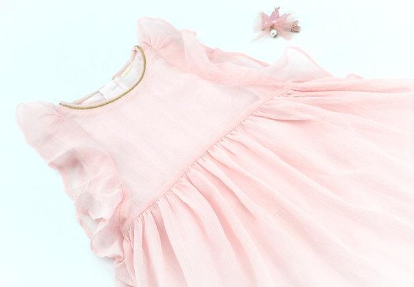 Pastel Pink Silk Party Dress