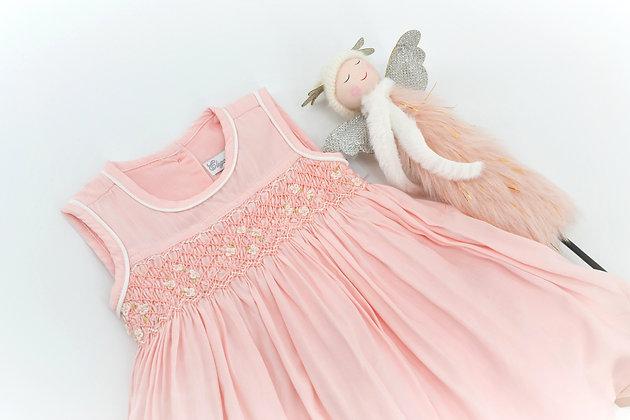 Smocked - Emma Pastel Pink Baby Dress