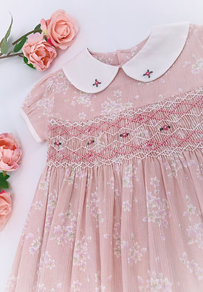 Smocked - Floral Pink Dress
