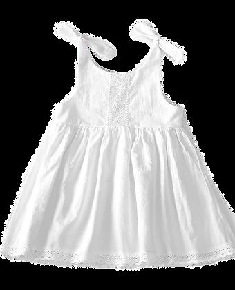 Lace bodice & hem, flutter sleeve dress - White