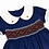 Thumbnail: Smocked - Dark Blue with Spice Brown smock Dress
