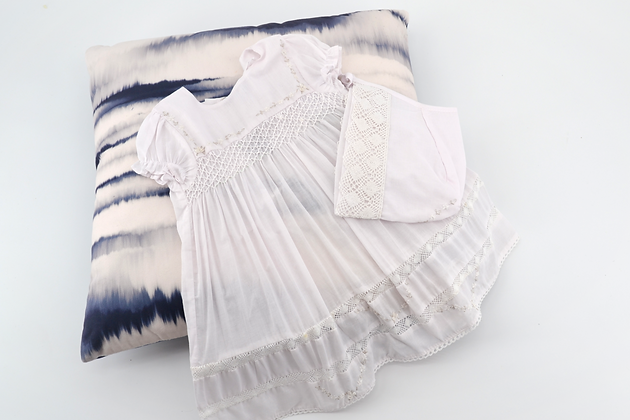 Smocked - Newborn / Baby White Dress With Bonnet