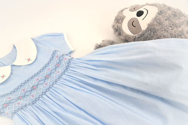 Smocked - Light Blue Smocked Dress
