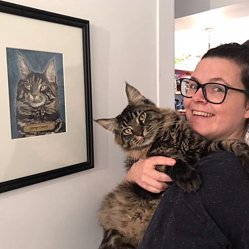 Joanne & George with his cat portrait, Emma Bijloos 2018
