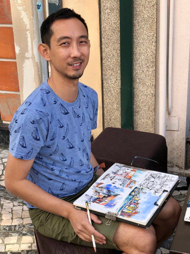 Urban sketcher Paul Wang in Porto, Portugal