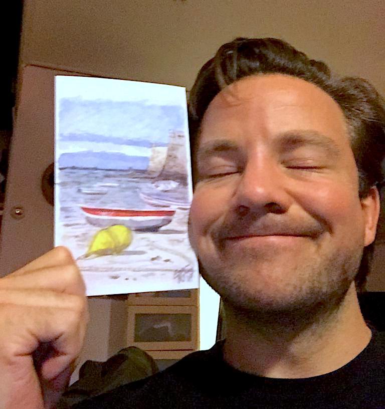Willem with postal card designed by Emma Bijloos 2018