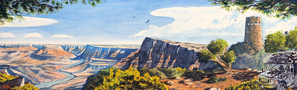 Grand Canyon, U.S.A. Watercolor on paper (30x100cm).  August 2018 (c) Emma Bijloos