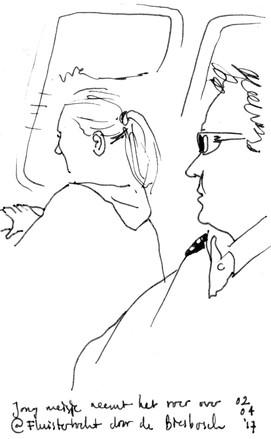 Commuters. Ink in pocket Moleskine sketchbook. 2017 (c) Emma Bijloos