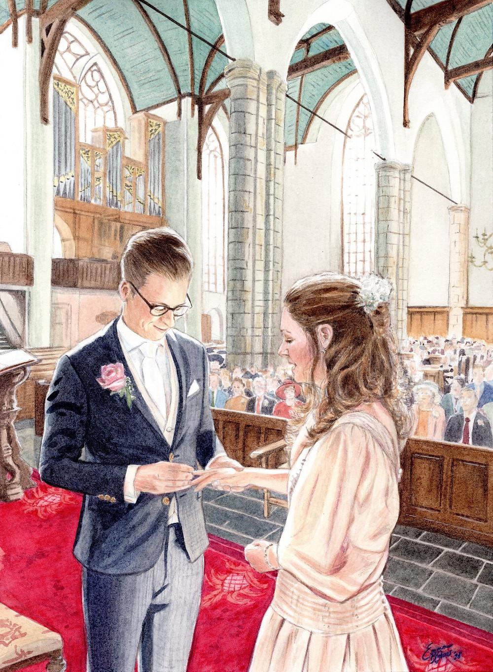 Waterverfschilderij huwelijk Lennart & Welmoet (c) Emma Bijloos