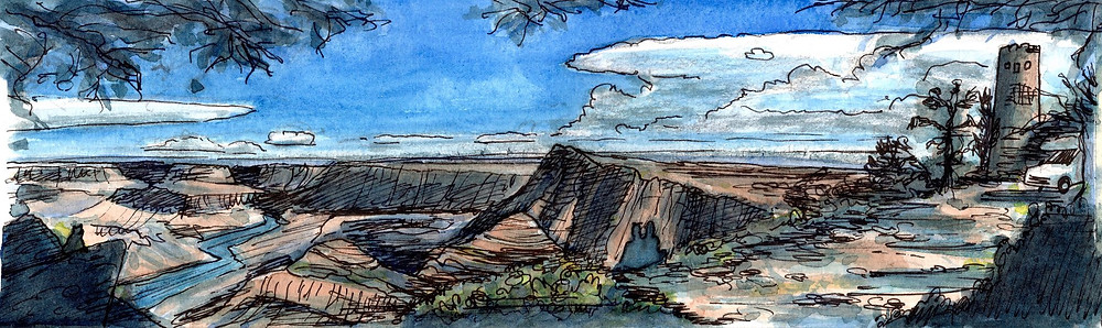 Grand Canyon, U.S.A. Ink & watercolor on paper (30x10cm).  August 2018 (c) Emma Bijloos