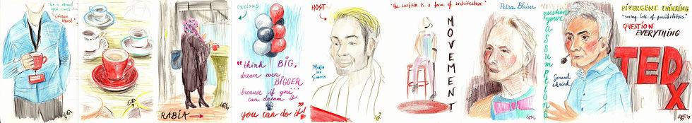 TEDxTilburg Reortage drawings - part 1 (c) Emma Bijloos 2019