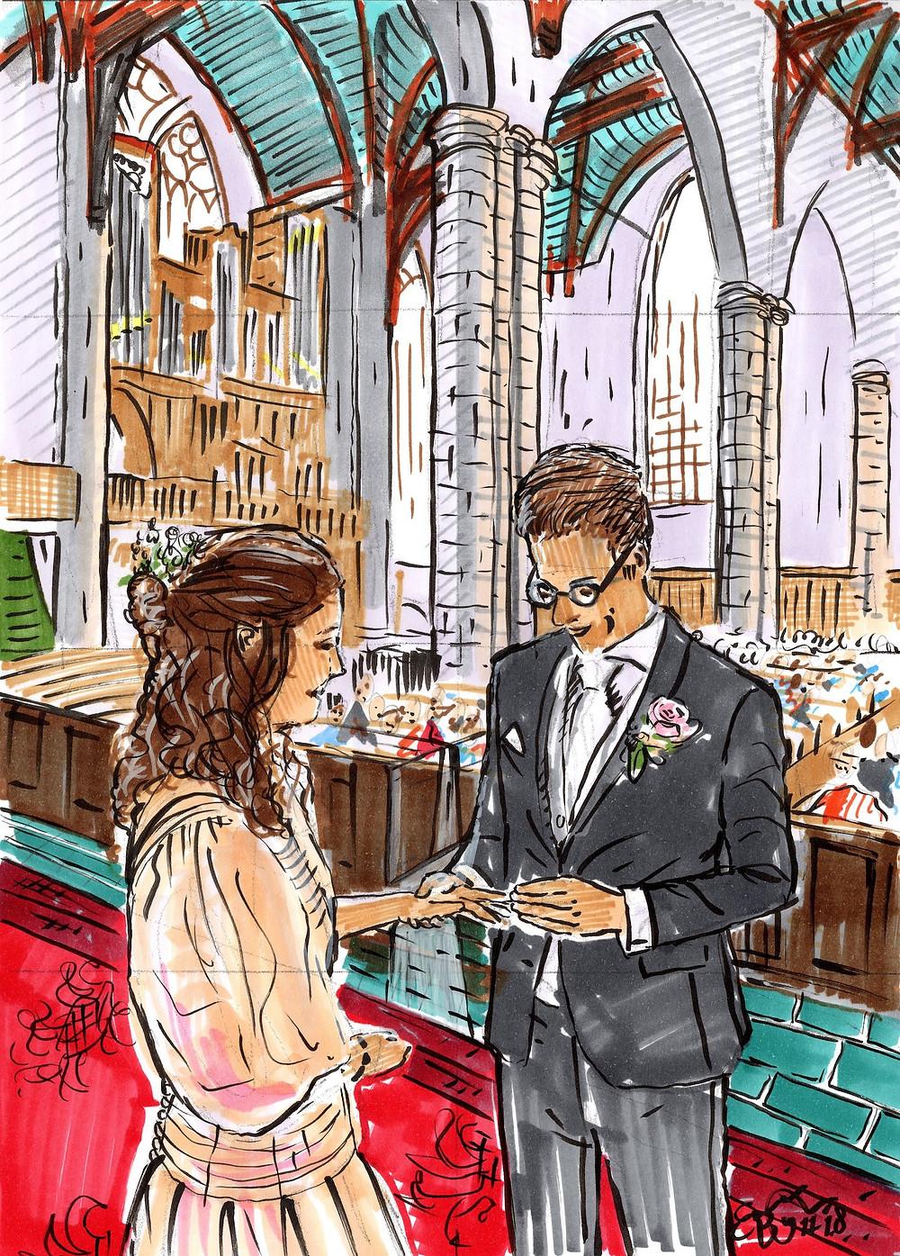 Opzet waterverfschilderij bruidspaar met viltstift