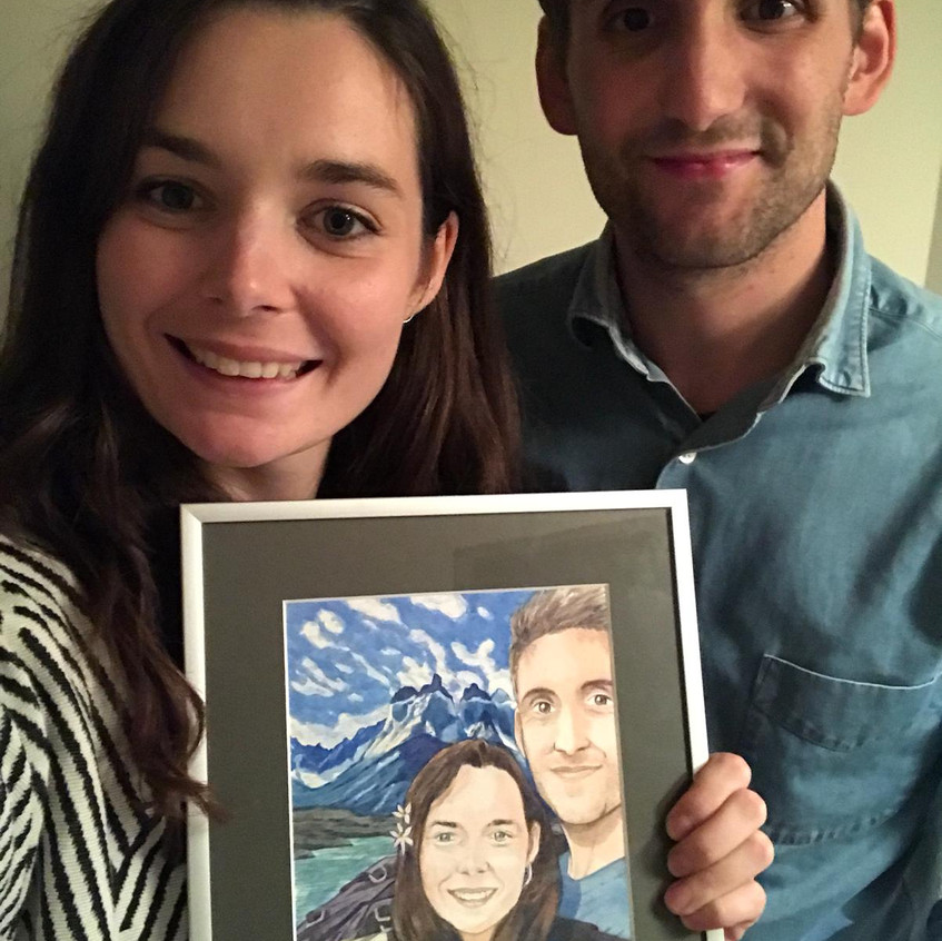 Gisela & Louis with their watercolor portrait, Emma Bijloos 2018