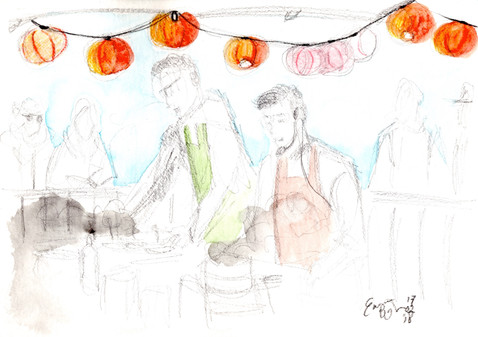 Rotterdam Chinese New Year 2018. Pencil & watercolor in A5 watercolor sketchbook February 2018 (c) Emma Bijloos