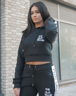 black women's plug calling attire crop jumper  tracksuit