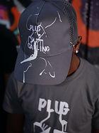 dark grey hat and t-shirt