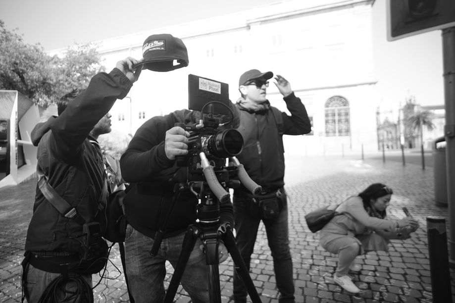 Filming outside Livraria Lello