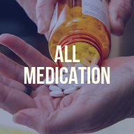 "A bottle of white pills being poured onto a person's hand. There is a text overlay that reads ""All Medication"""