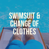 "A man laying by the pool with blue swim trunks and yellow flip flops. Text overlay reads ""Swimsuit and change of clothes"""
