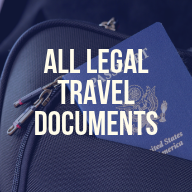 "A photo of a passport inside of a bag. There is a text overlay that reads ""All legal travel documents"""